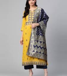 Yellow woven cotton ethnic-kurtis