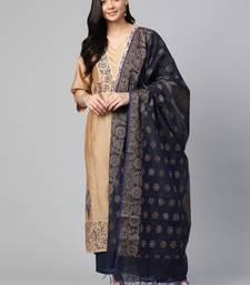 Beige woven cotton ethnic-kurtis
