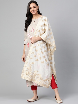 Off-white woven viscose ethnic-kurtis