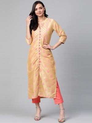 Gold woven cotton ethnic-kurtis