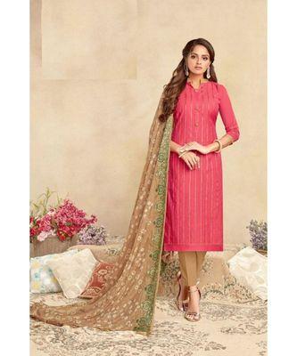Cream Embroidery Chanderi Unstitch straight fit churidar salwar suits