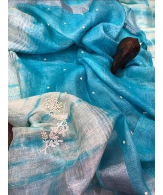 Blue ?Handcrafted?Linen Saree with embroidery work