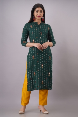 Rayon printed kurti with front all over emb and hand work with plain Pant