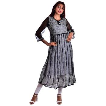 Lavangi Women's Faux Georgette Lucknow Chikankari Handicrafted Anarkali Kurti (Black)