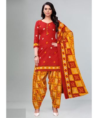 orange cotton unstitched salwar kameez