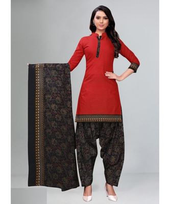 red cotton unstitched cotton salwar kameez