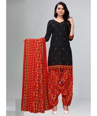 black cotton unstitched cotton salwar kameez