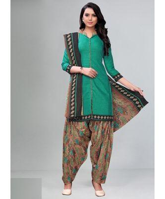 teal cotton unstitched cotton salwar kameez