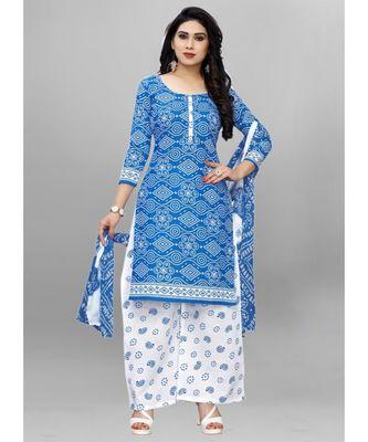 blue cotton unstitched cotton salwar kameez