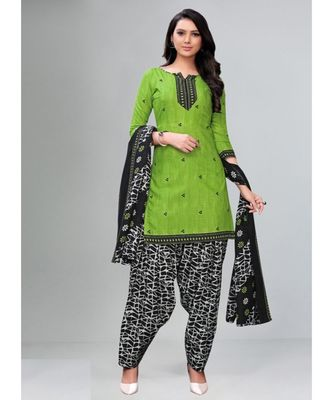 green cotton unstitched cotton salwar kameez