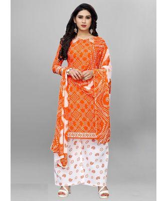 orange cotton unstitched cotton salwar kameez