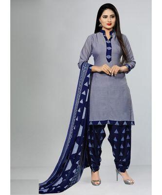 grey cotton unstitched cotton salwar kameez