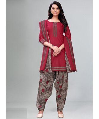 pink cotton unstitched cotton salwar kameez