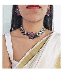 Silver choker With Pink Stone antique Necklace set