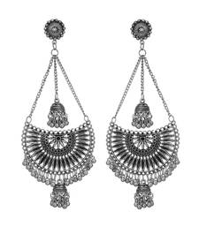 Indian Oxidized Silver Afghani Kashmiri Long Jhumki Earrings