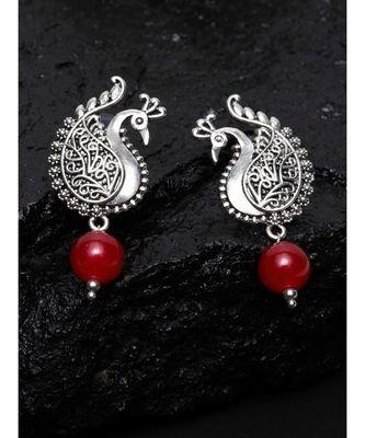Silver Oxidized Peacock Earrings