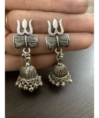 Oxidised Metal Silver Plated Om Trishul Damroo Earrings for Girls and Women