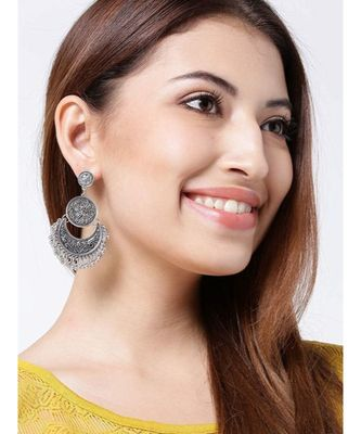 Tribal Muse Collection Oxidized Chandbali Silver Earrings For Women & Girls