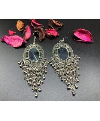 Jewellery Silver Oxidised Chandbali Afghani Dangle Drop Earrings for women and girls