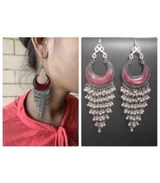 Oxidised German Silver Drop and Dangler Chandbali Earrings for Women