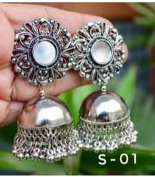 Silver Oxidized  Mirror Jhumki