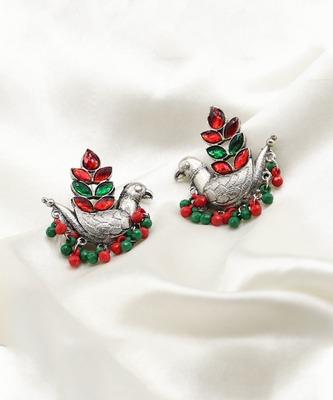 Designer Traditional Oxidized Silver Peacock Design Jhumka