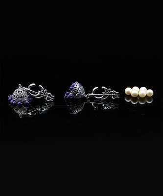 Traditional Oxidized Silver Shiva Trishul Design Jhumka Ghungroo Earrings for Women and Girls
