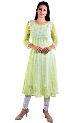 Lavangi Women's Faux Georgette Lucknow Chikankari Handicrafted Anarkali Kurti (Light Green)