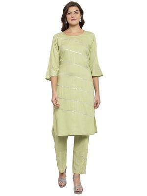 Green plain rayon kurtas-and-kurtis