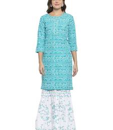 Turquoise printed cotton kurtas-and-kurtis