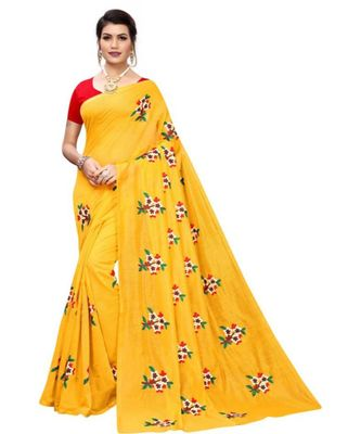 Yellow Floral Embroidered Art Silk Saree With Blouse For Women