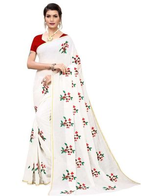 White Floral Embroidered Art Silk Saree With Blouse For Women