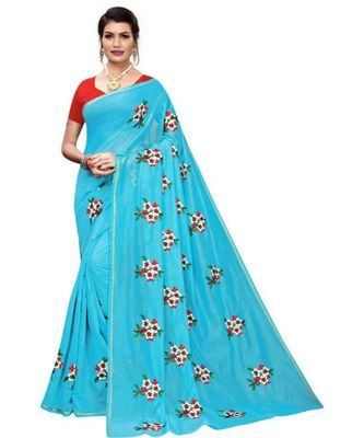 Blue Floral Embroidered Art Silk Saree With Blouse For Women