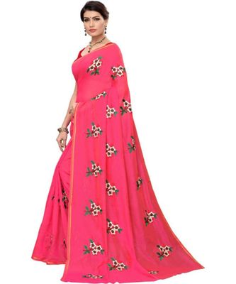 Pink Floral Embroidered Art Silk Saree With Blouse For Women