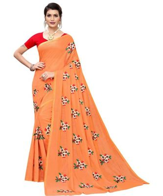 Orange Floral Embroidered Art Silk Saree With Blouse For Women