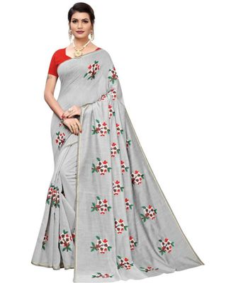 Grey Floral Embroidered Art Silk Saree With Blouse For Women