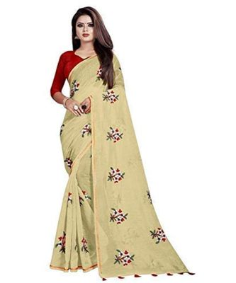 Beige Floral Embroidered Art Silk Saree With Blouse For Women