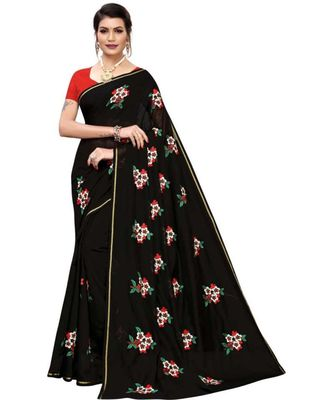 Black Floral Embroidered Art Silk Saree With Blouse For Women