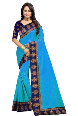 Teal Plain Border Art Silk Saree With Blouse For Women