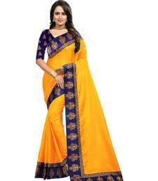 Yellow Plain  Border Art Silk Saree With Blouse For Women