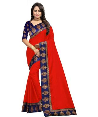 Red Plain Border  Art Silk Saree With Blouse For Women