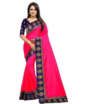 Pink Plain  Border  Art Silk Saree With Blouse For Women