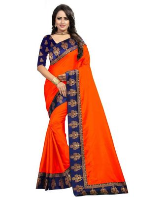 Orange Plain  Border Art Silk Saree With Blouse For Women