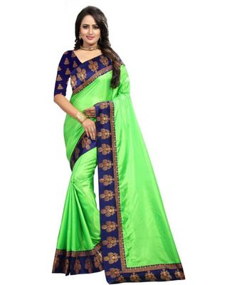Green Plain Border  Art Silk Saree With Blouse For Women