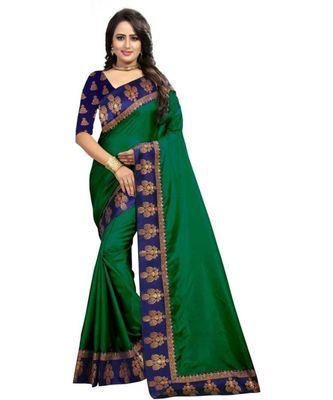 Dark Green Plain Border  Art Silk Saree With Blouse For Women