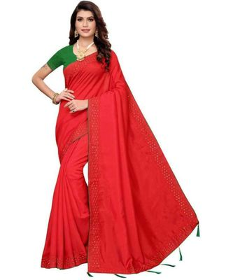 Red Stone Work Embroidered Art Silk Saree With Blouse For Women