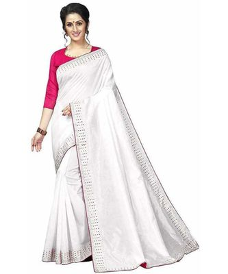 White Stone Work Embroidered Art Silk Saree With Blouse For Women