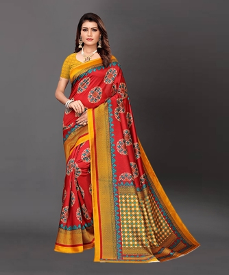 Latest Designer Cotton blend Art silk Printed saree with Blouse