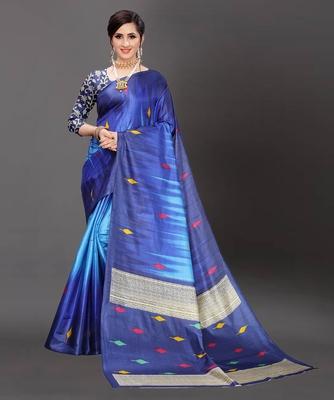Latest Designer Cotton blend Art silk Printed saree with Blouse