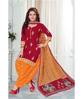 Red Printed  Cotton Unstitched Salwar Kameez